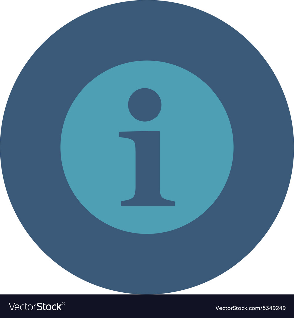 Information flat cyan and blue colors round button vector