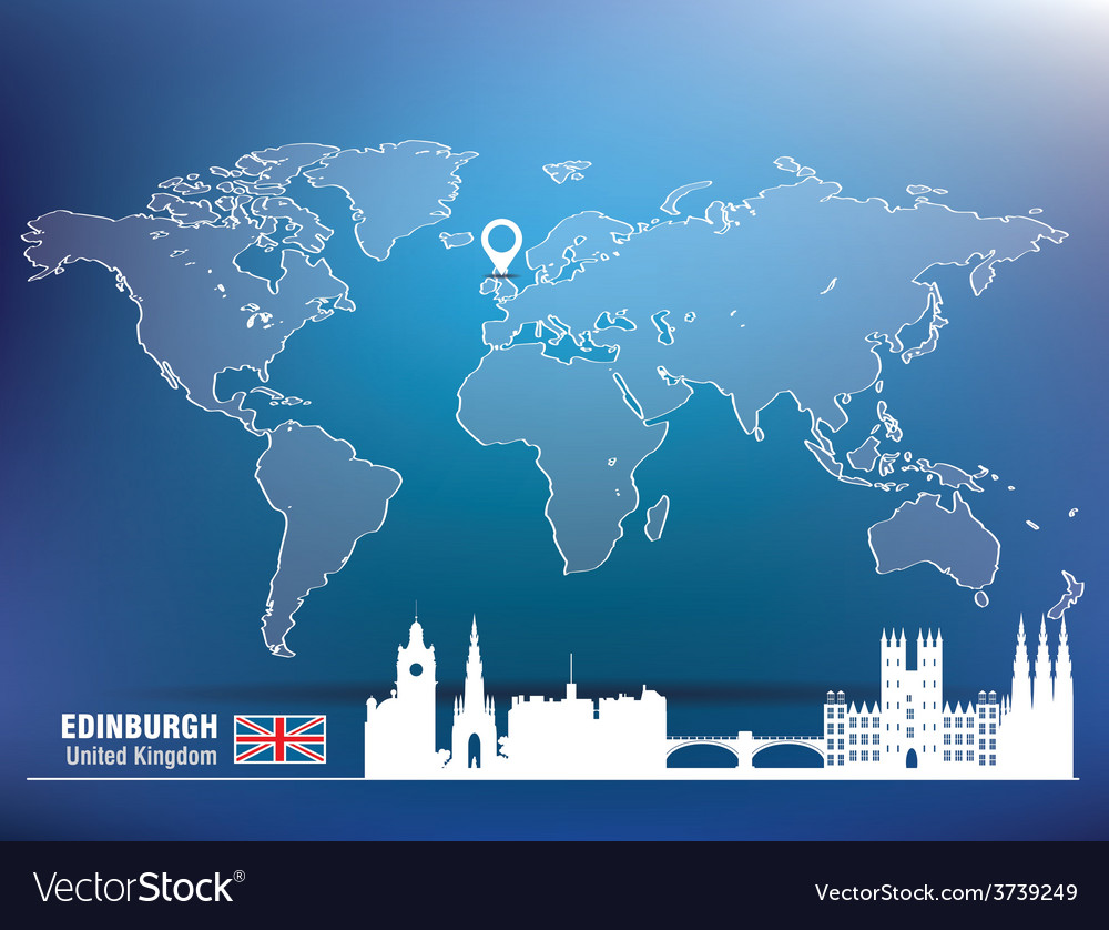 Map pin with edinburgh skyline vector