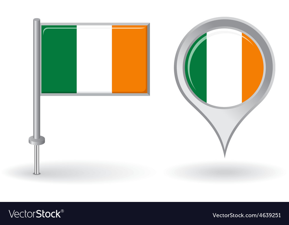 Irish pin icon and map pointer flag vector