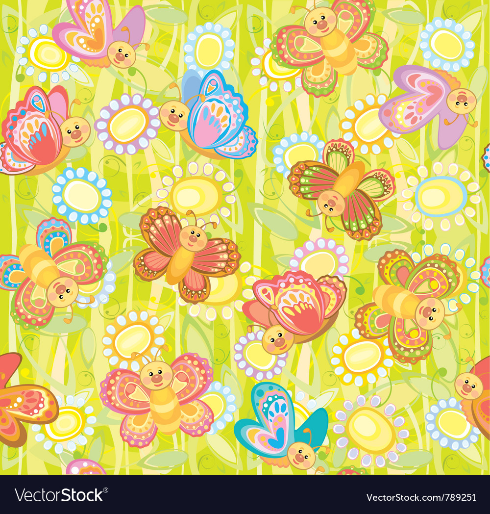 Seamless cute pattern of butterflies vector