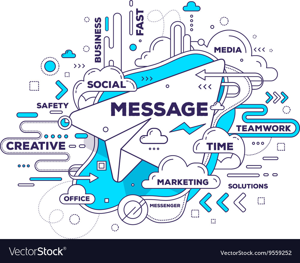 Creative of mobile messenger with paper air vector