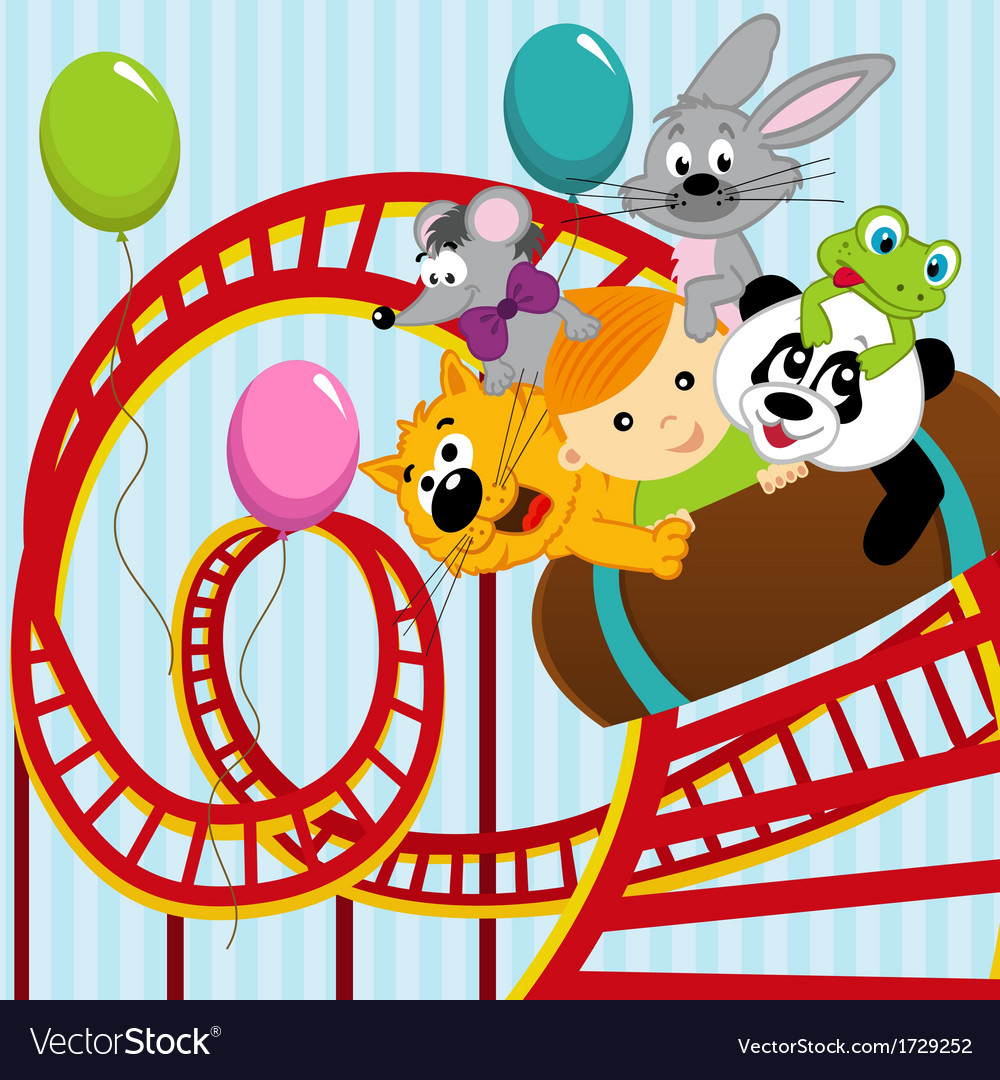 Roller coaster boy and animals vector