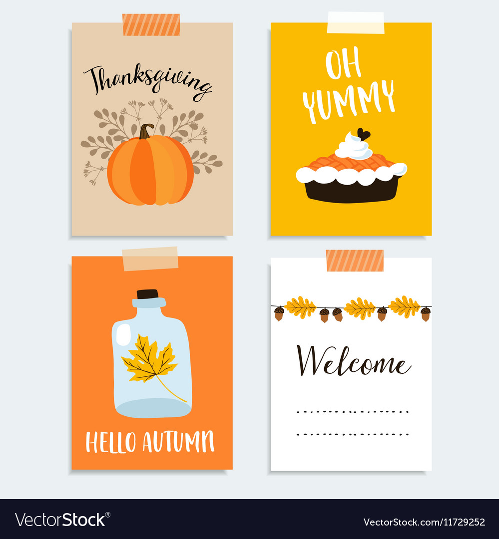 Set of cute hand drawn thanksgiving cards autumn vector