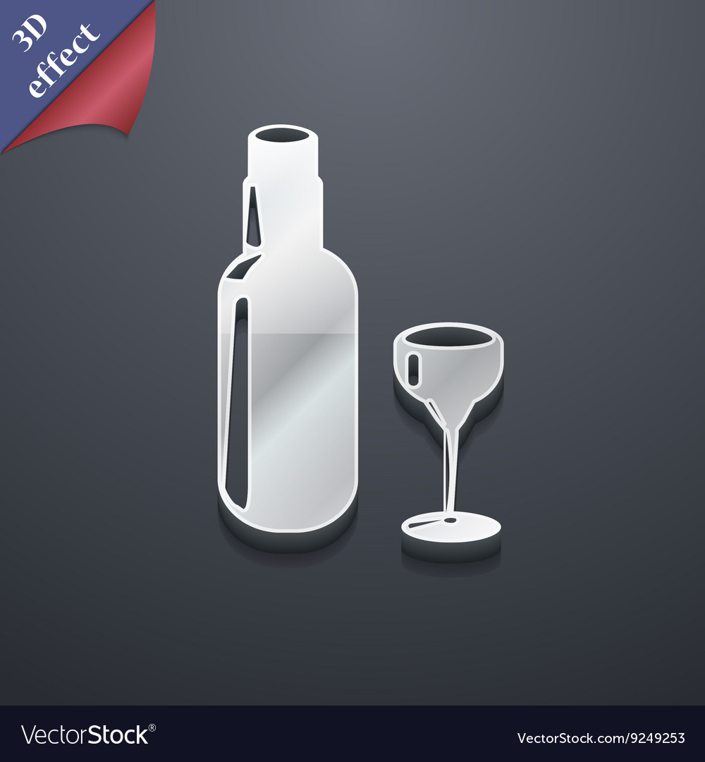 Bottle of wine and glass icon symbol 3d style vector