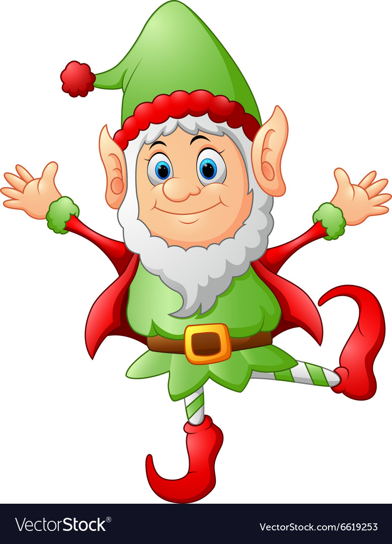 Cartoon christmas elf waving vector
