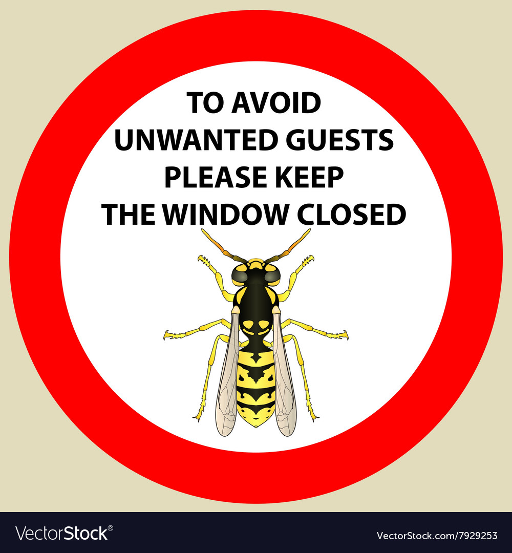 Sticker with warning sign insect wasp icon wasp vector