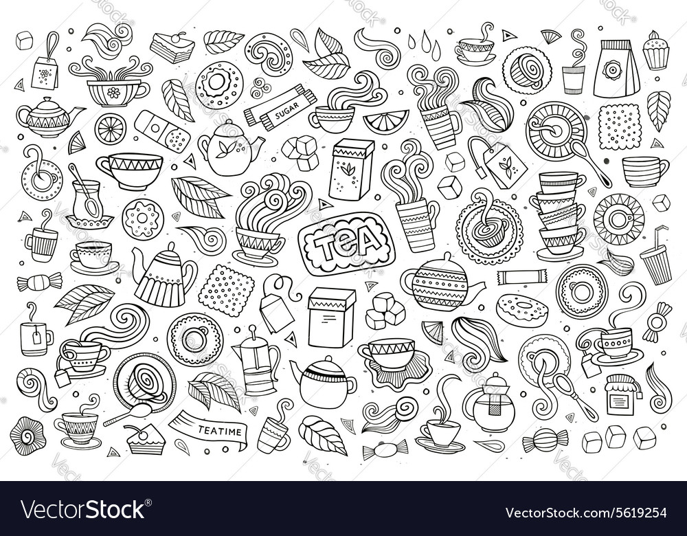 Tea time doodles hand drawn sketchy symbols vector
