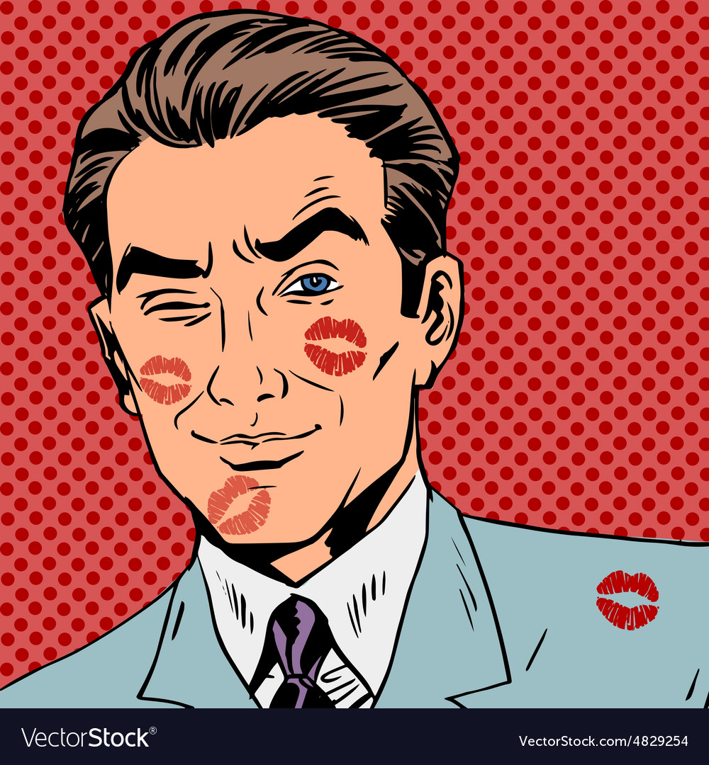 Traces of a kiss on the man face pop art retro vector