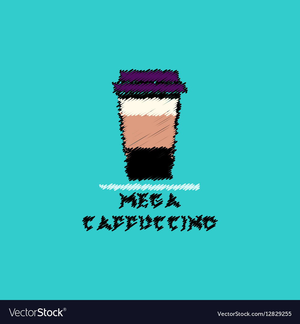 Flat icon design collection mega cappuccino vector