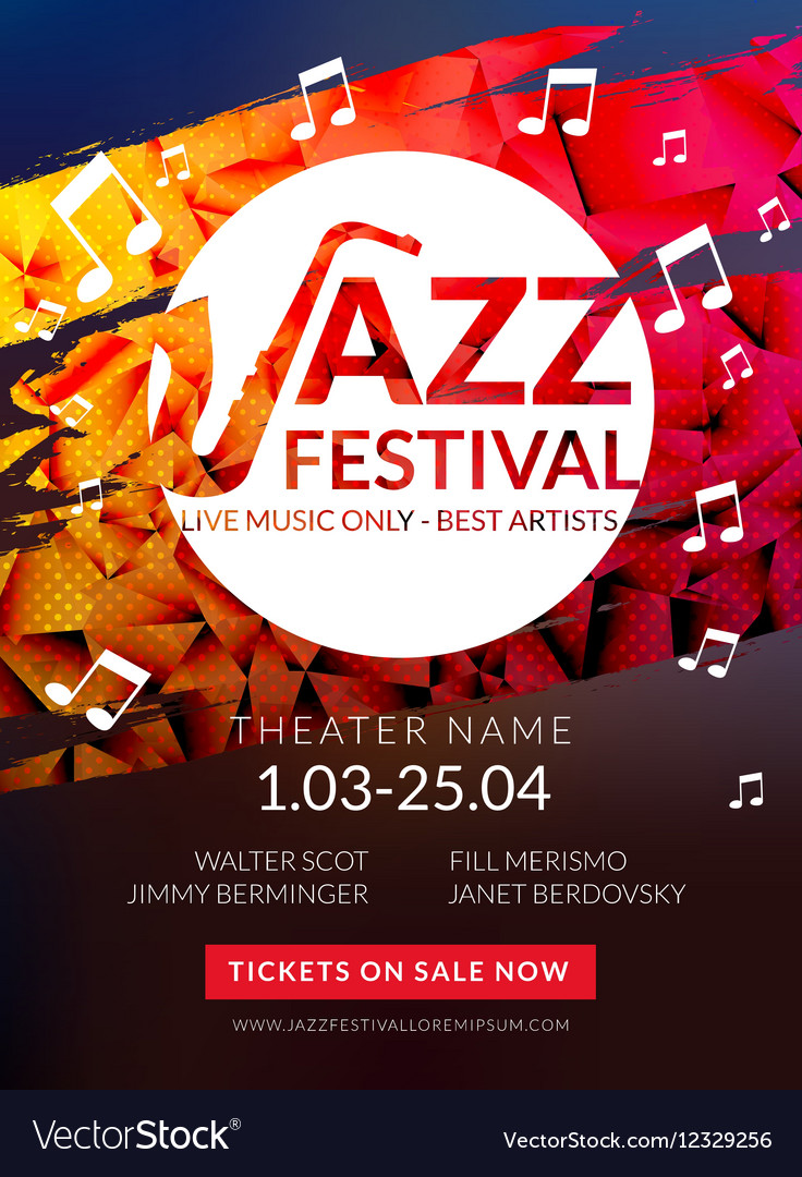 Musical flyer jazz festival music poster vector