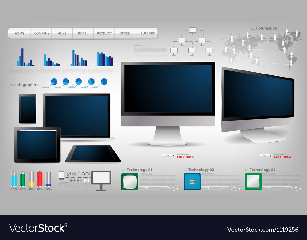 Realistic computer with infographics vector