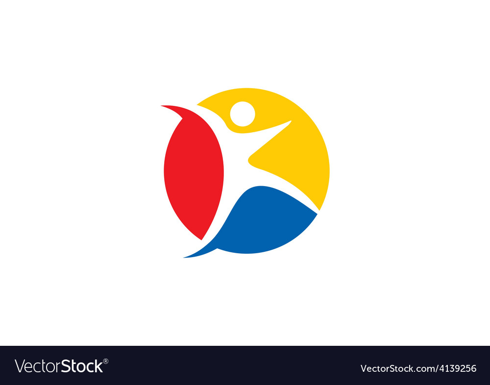 Sport icon people fitness logo vector