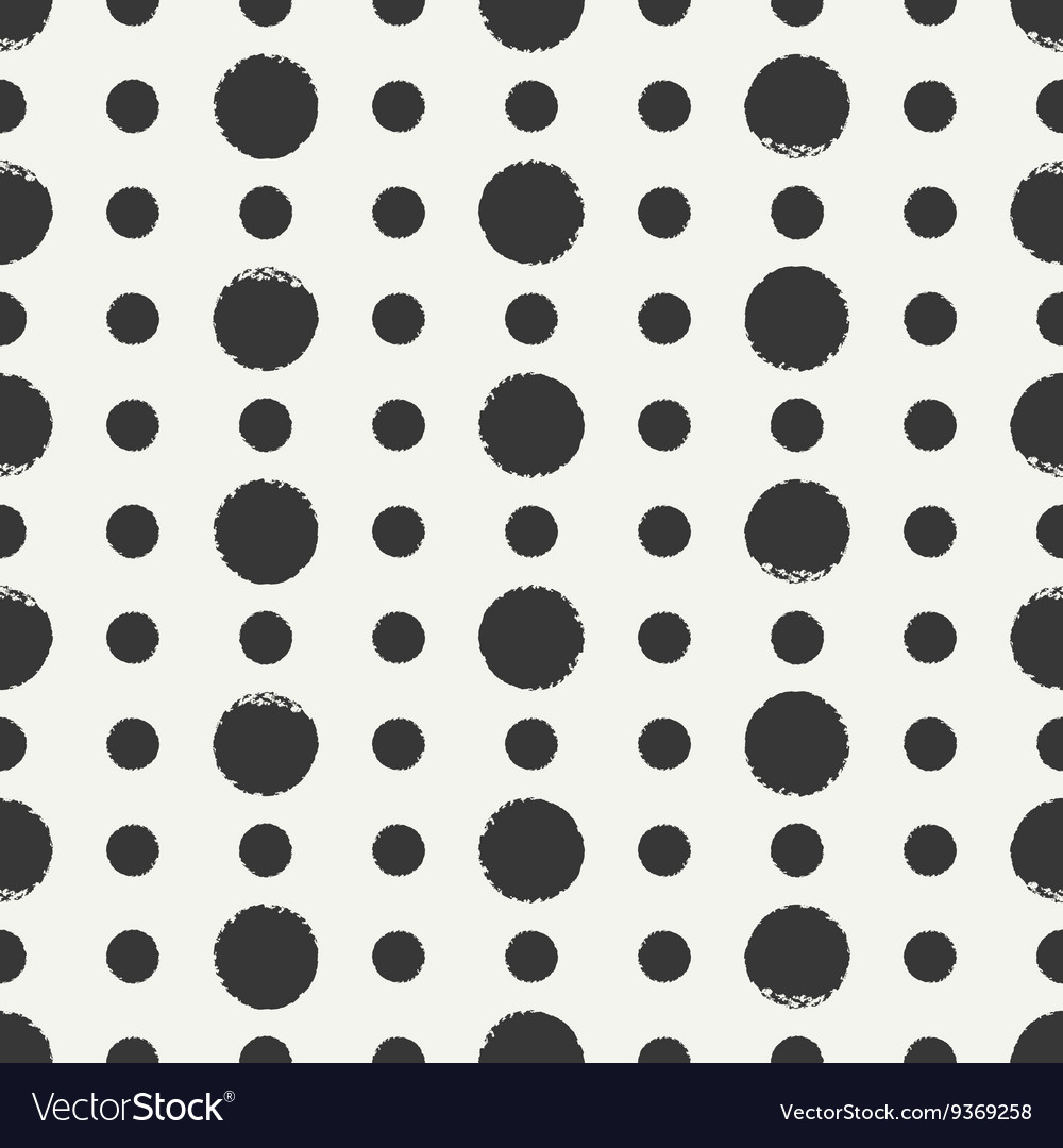 Hand drawn geometric seamless ink polka dot vector