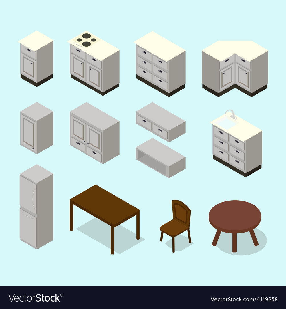 Isometric kitchen furniture set vector