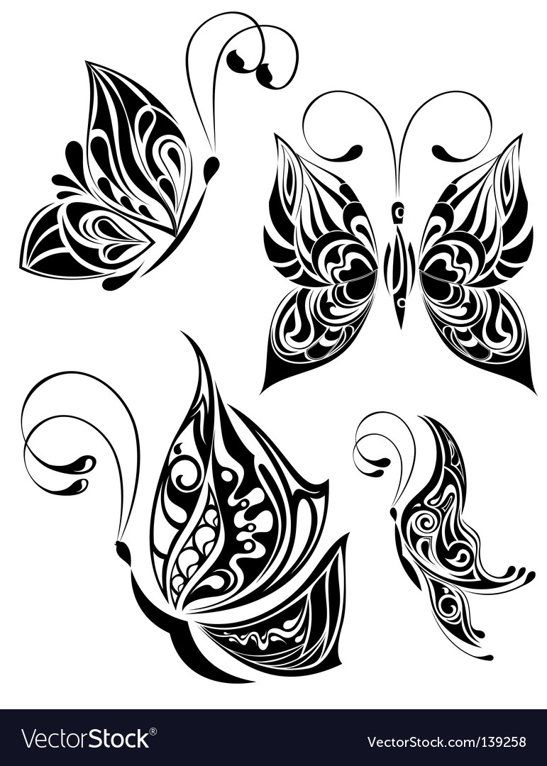 Set of tattoo butterfly vector