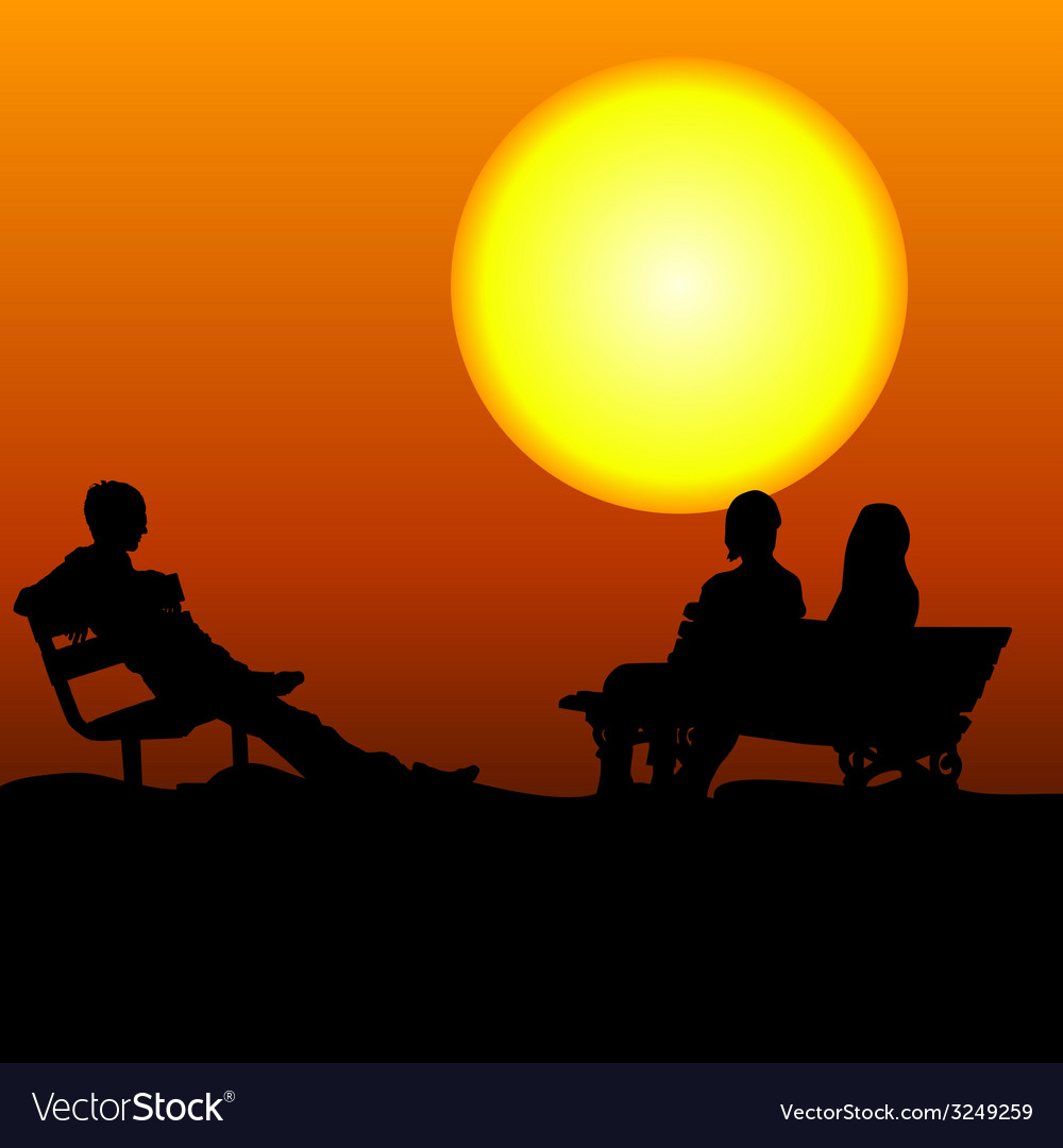 People sitting on the bench in the moonlight vector
