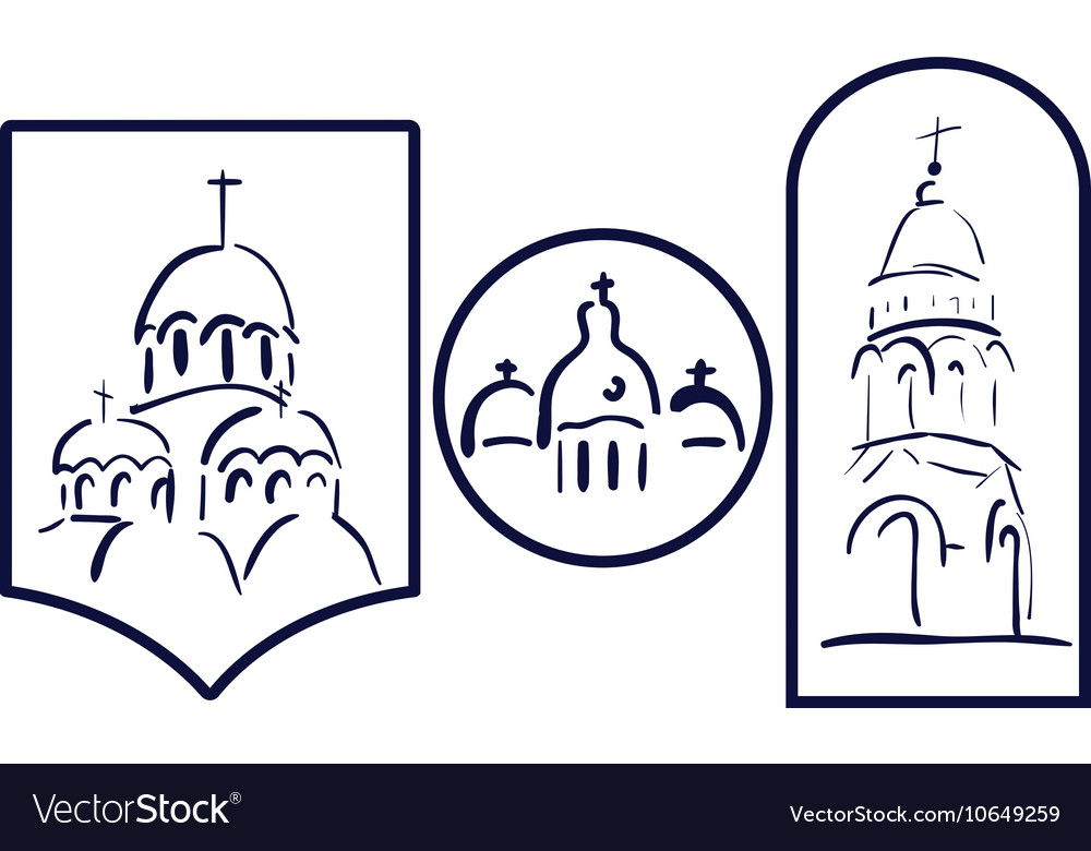 Set church logo icon element template church vector