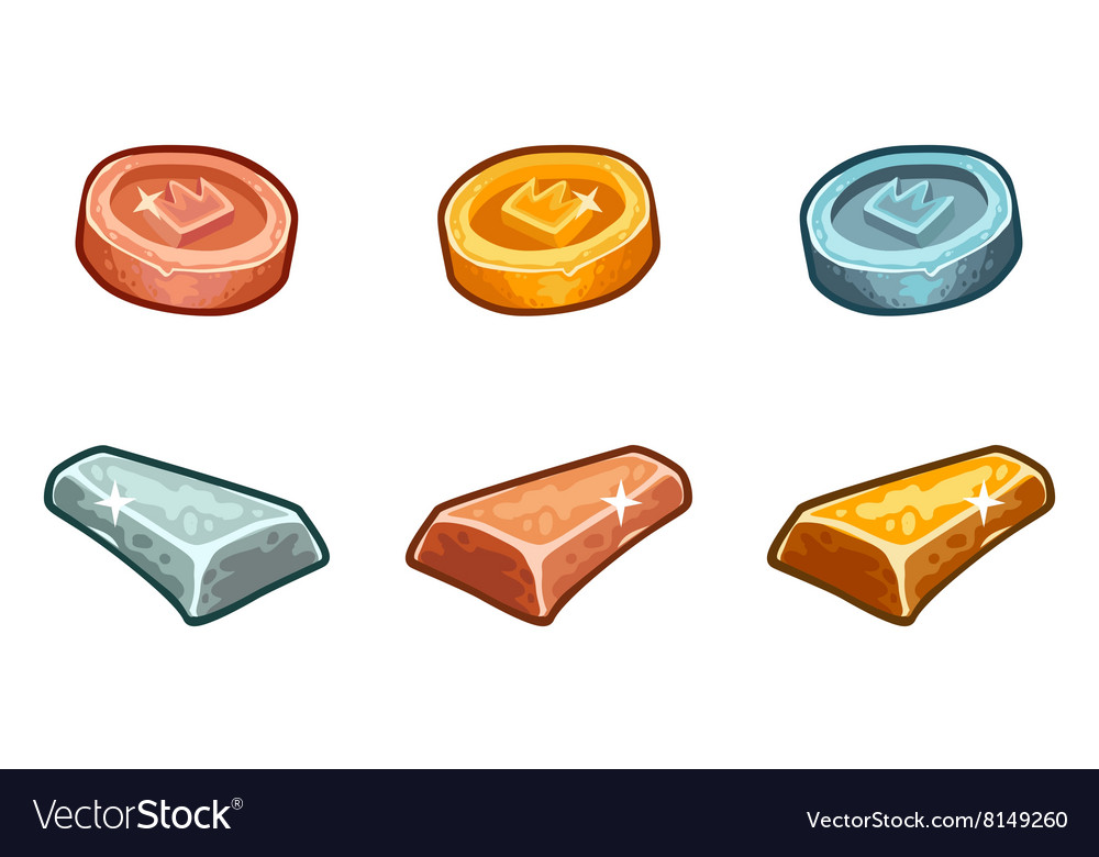 Cartoon 3d coins and golden bars set vector