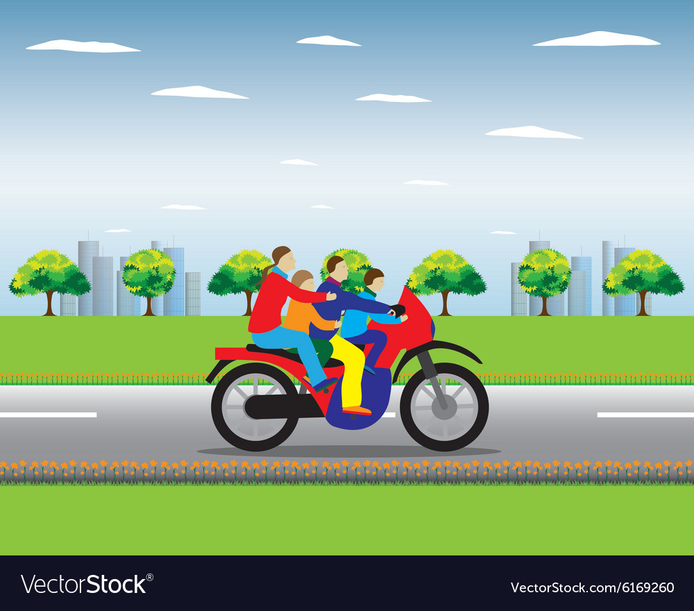 Family on a motorbike vector