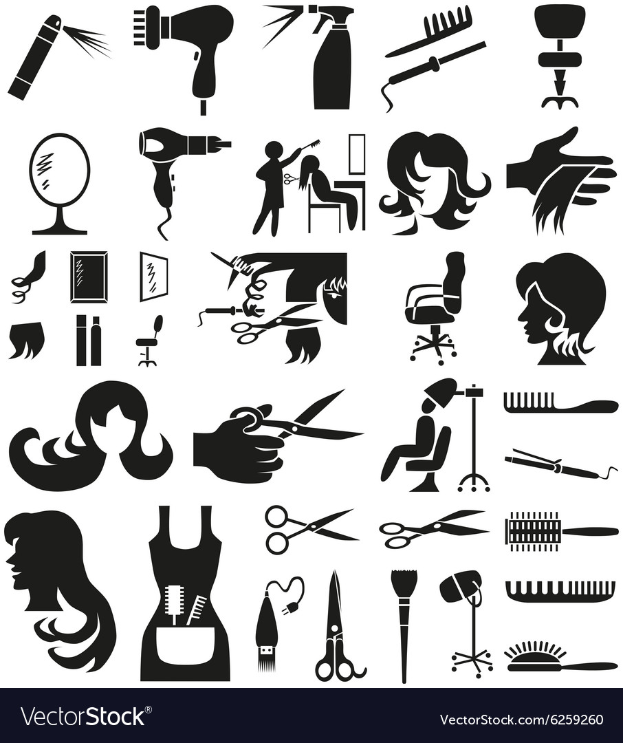 Hairdresser icons on white vector