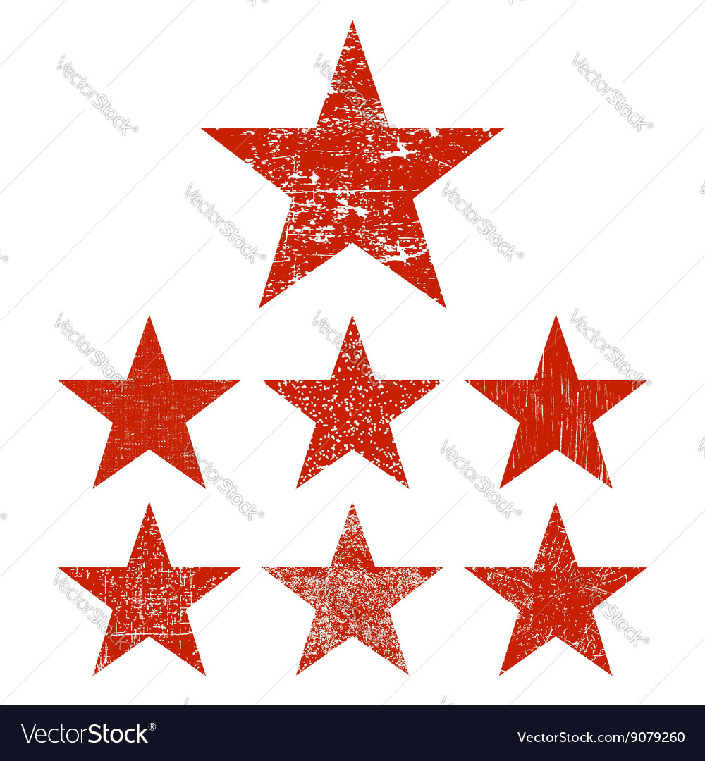 Set grunge star vector