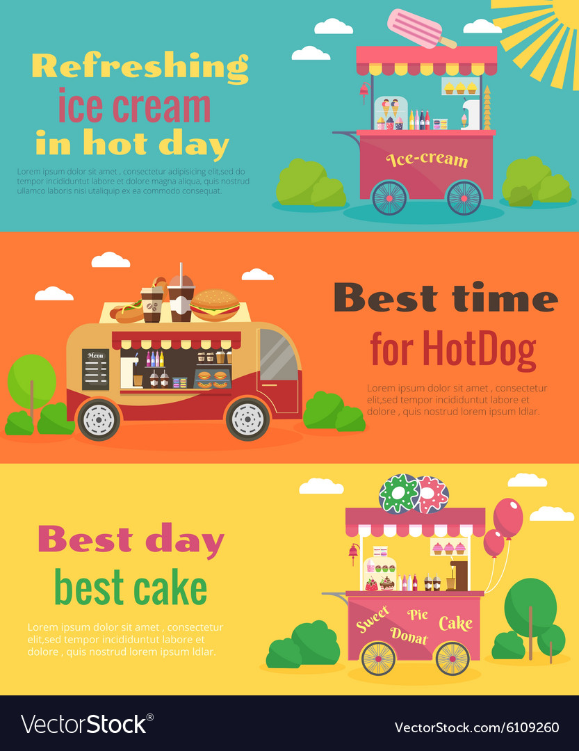 Street food banners set vector
