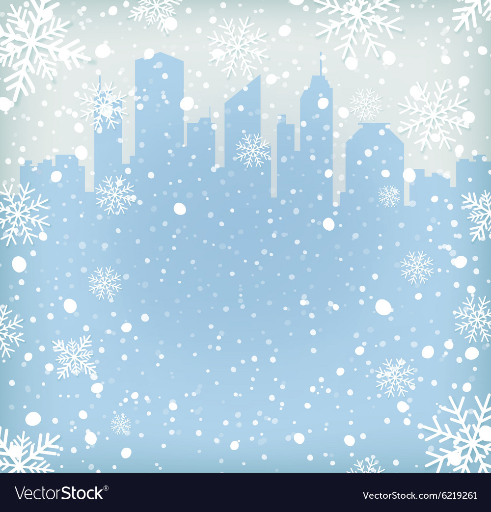 Background with snow flakes and city silhouette vector