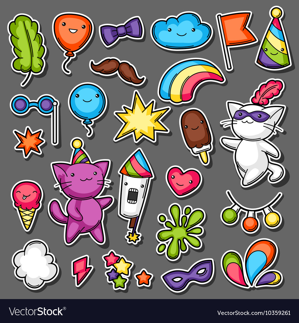 Carnival party kawaii sticker set cute cats vector