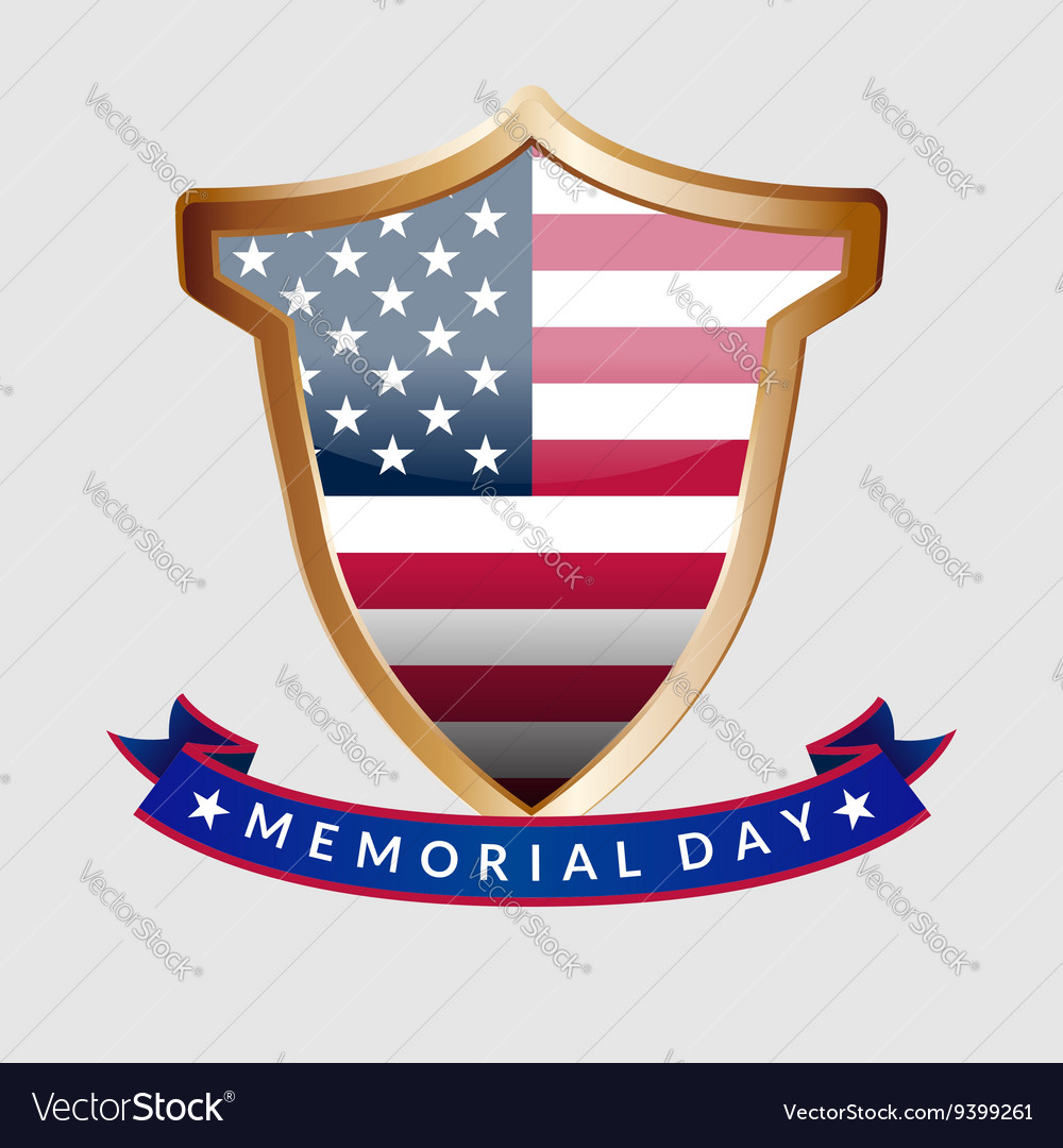 Memorial day gold shield and ribbon with the vector