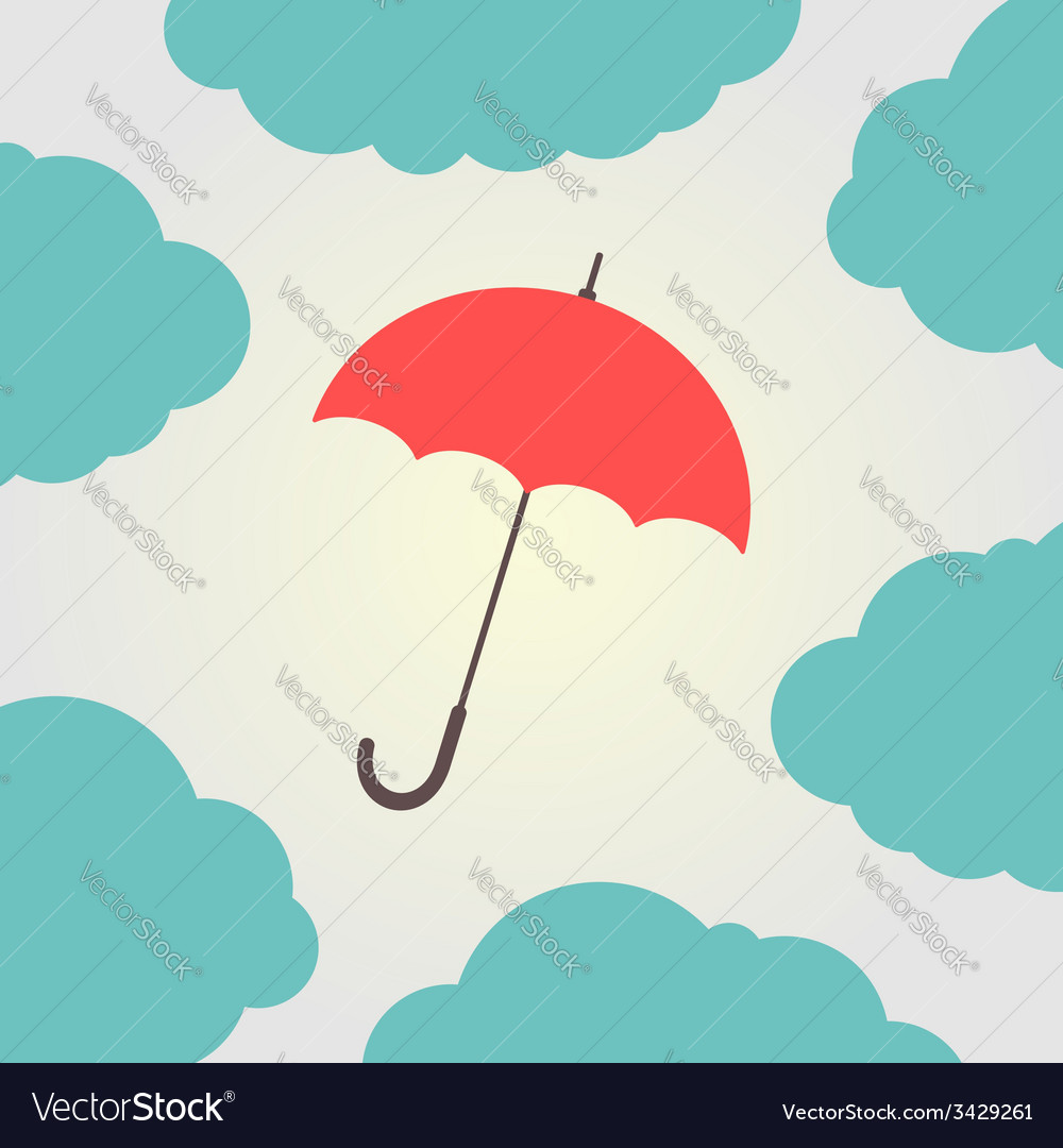 Red umbrella surrounded by clouds vector