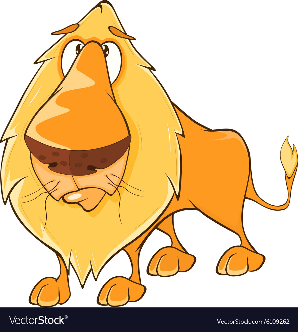 Funny yellow lion cartoon vector