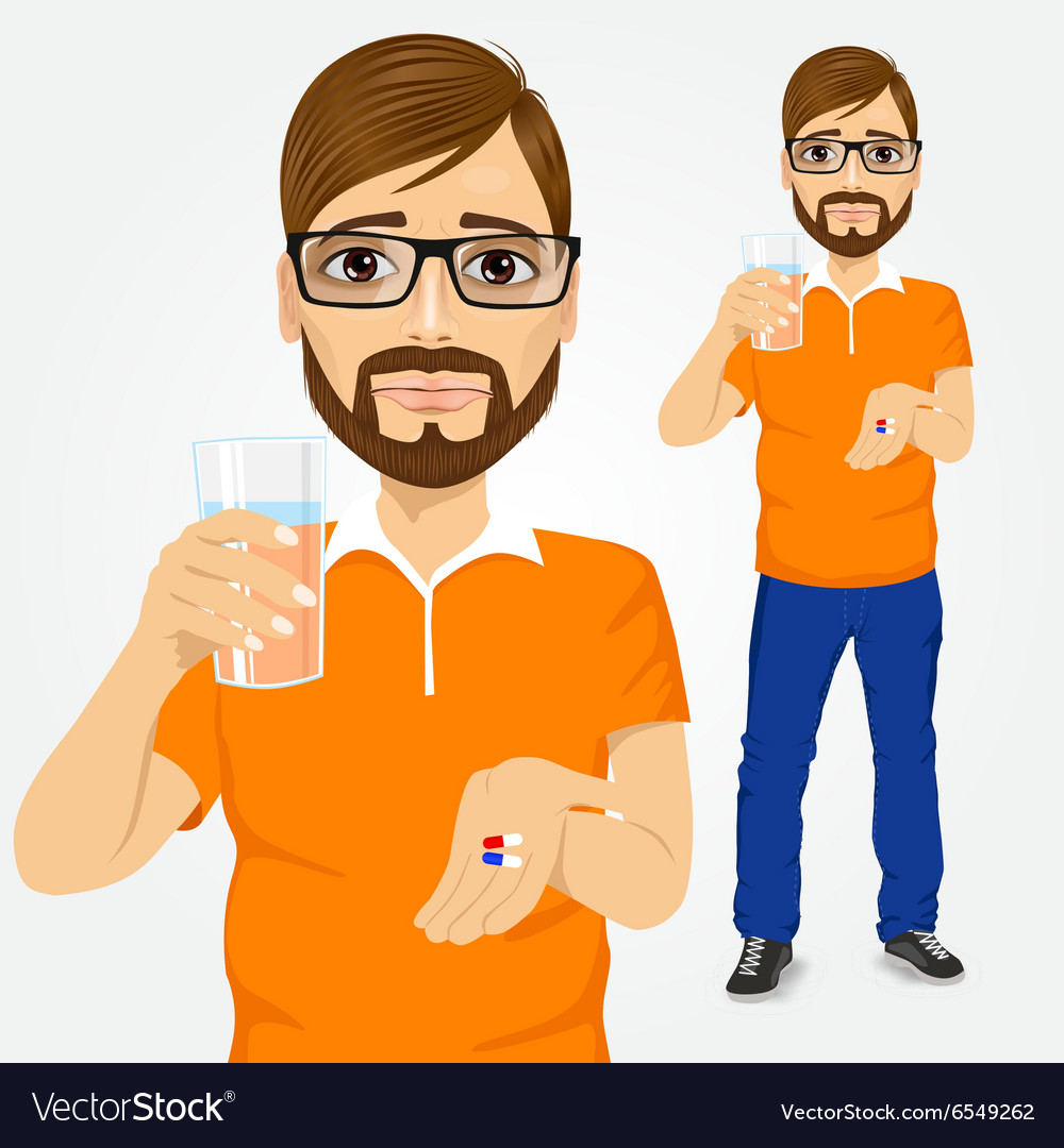 Sad man taking pills with glass of water vector