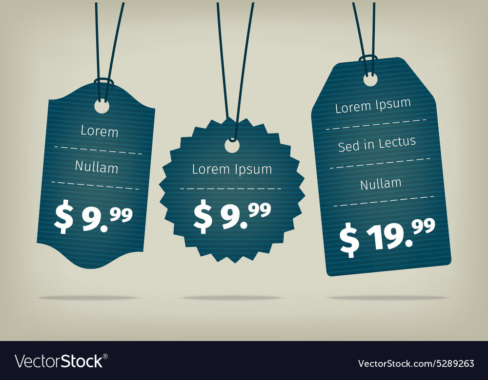 Blue cardboard textured pricing tags vector