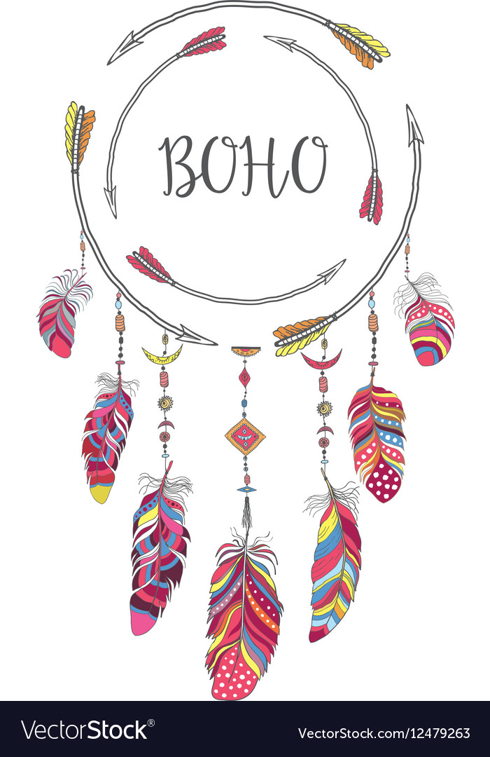 Boho style frame for tshirt and decoration vector