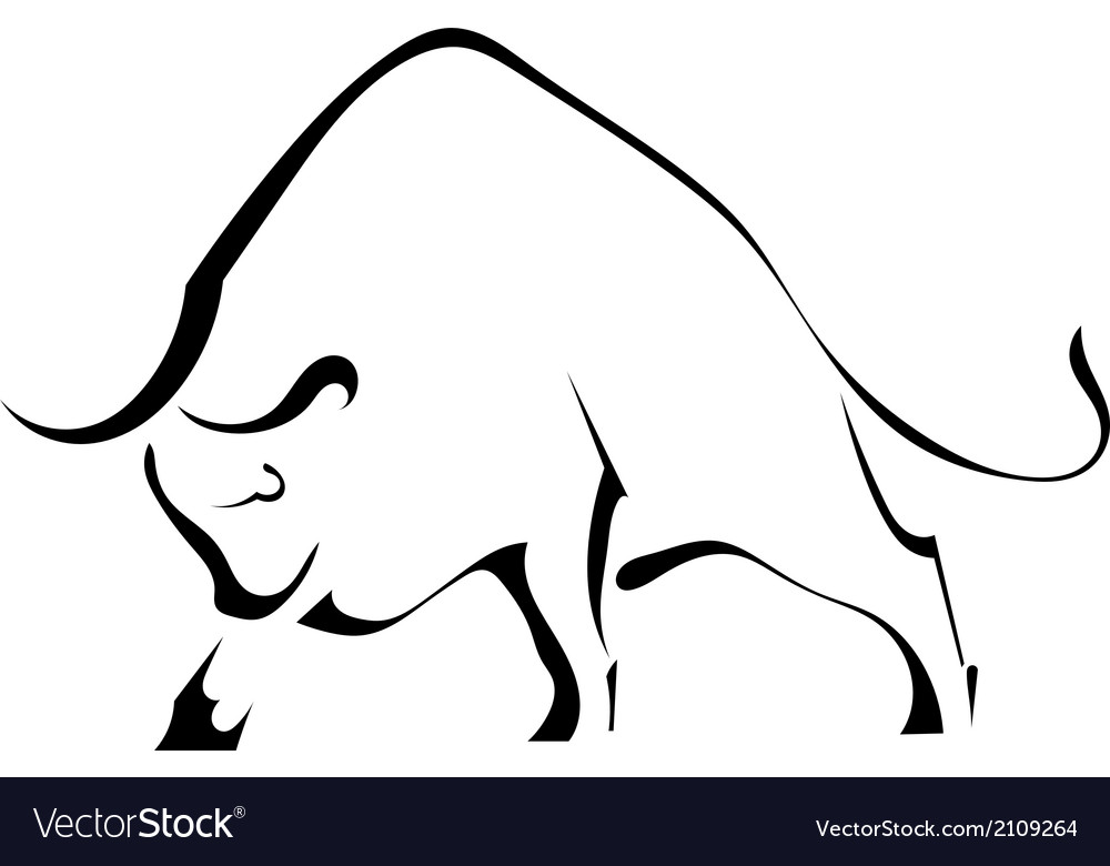 Black silhouette of a strong wild bull vector