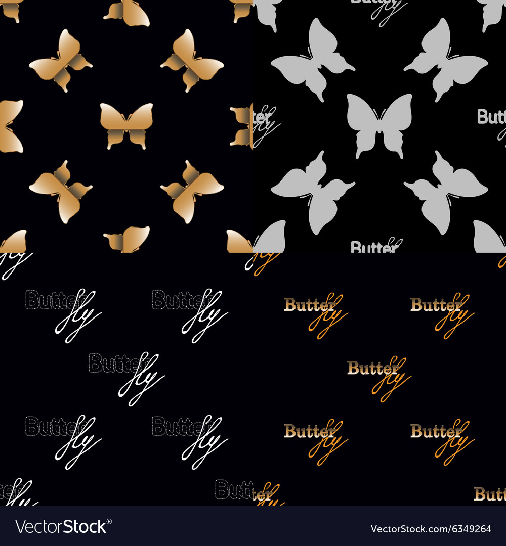 Four seamless pattern with golden butterflies vector