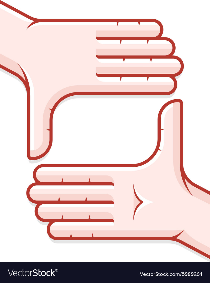 Hands taking focus frame vector