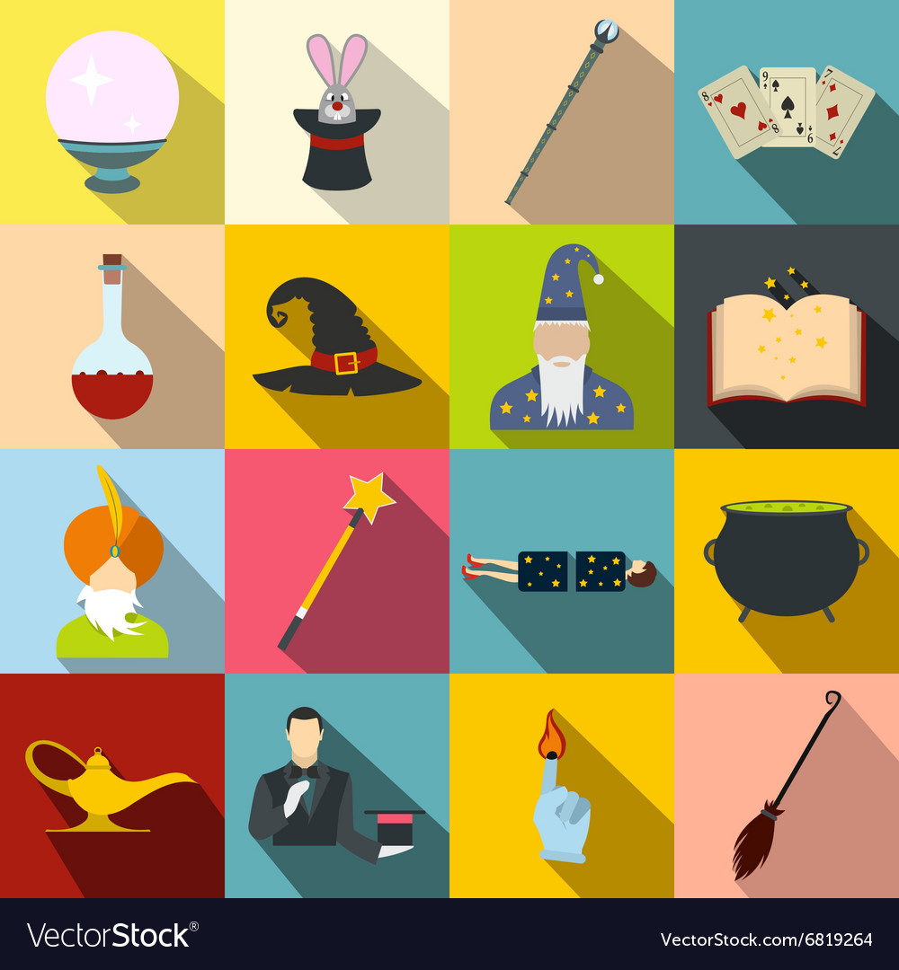 Magic flat icons set vector