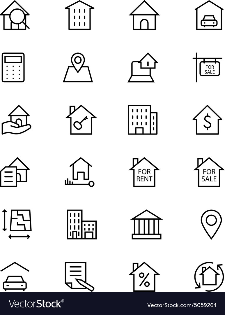 Real estate line icons 1 vector