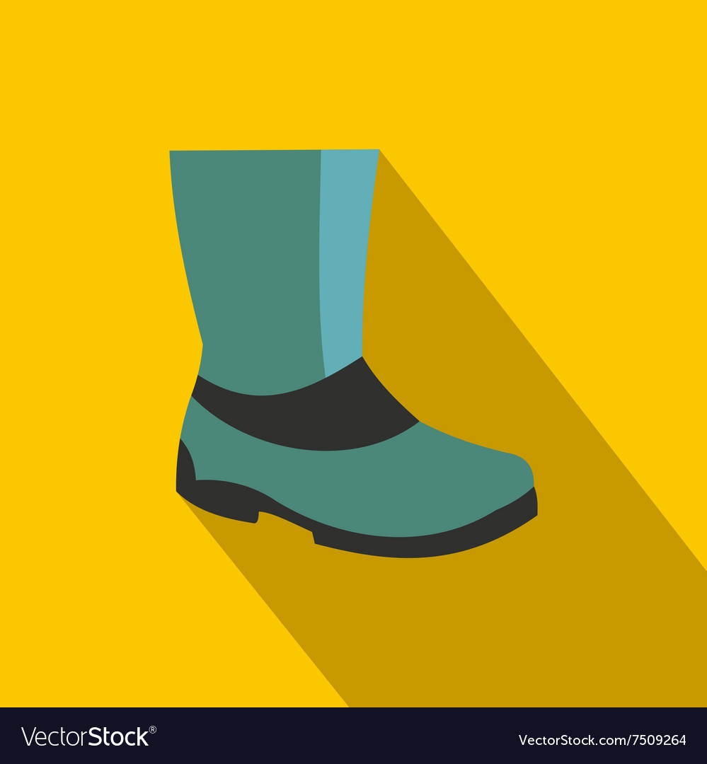 Rubber boots flat icon vector