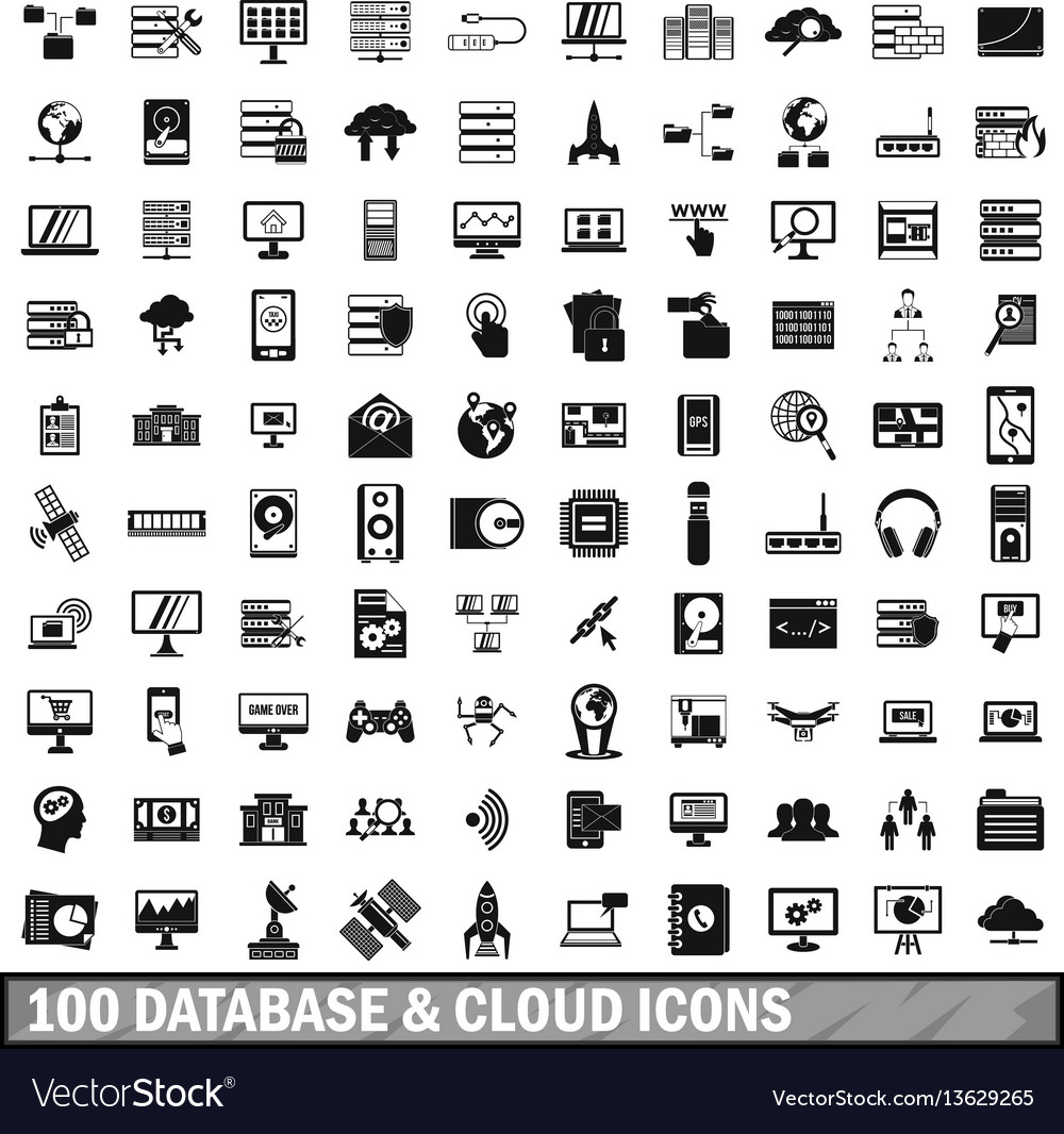 100 database and cloud icons set simple style vector