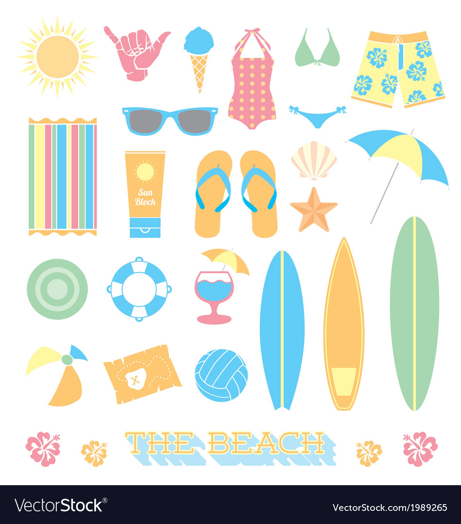 Beach fun objects and icons vector