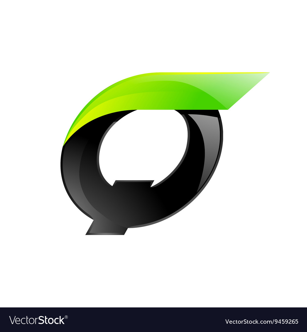 Q letter black and green logo design fast speed vector
