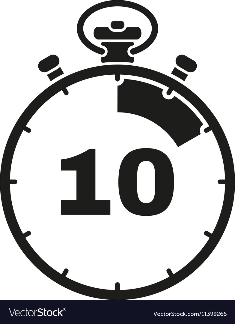 10 seconds minutes stopwatch icon clock and vector