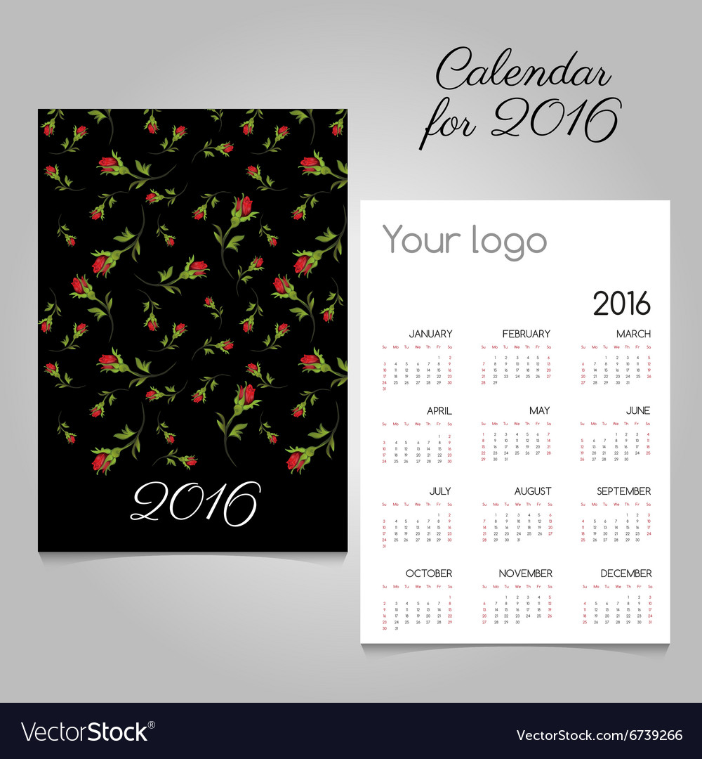 Black twosided calendar 2016 with roses vector