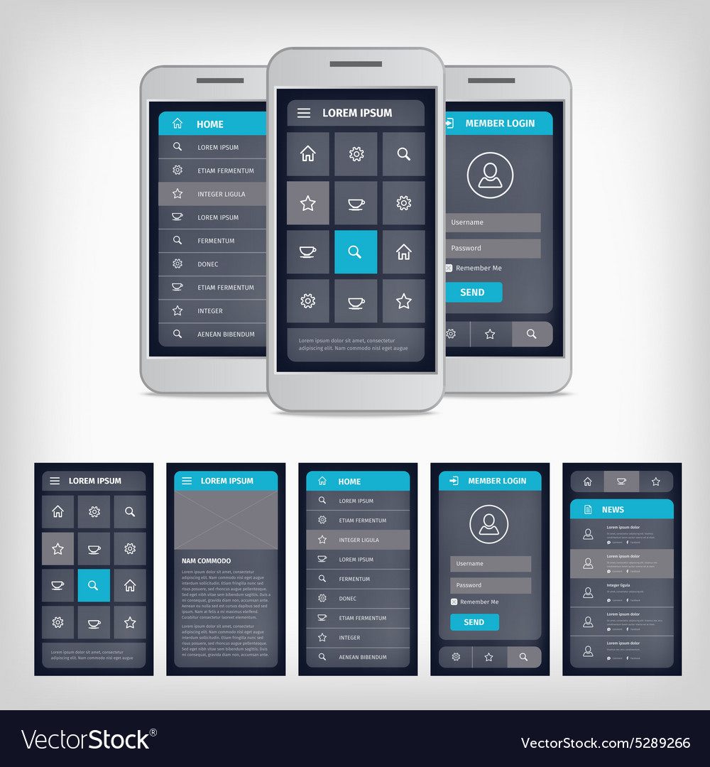 Blue mobile user interface vector