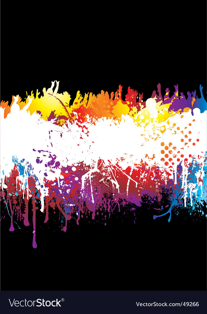 Rainbow and crowd vector
