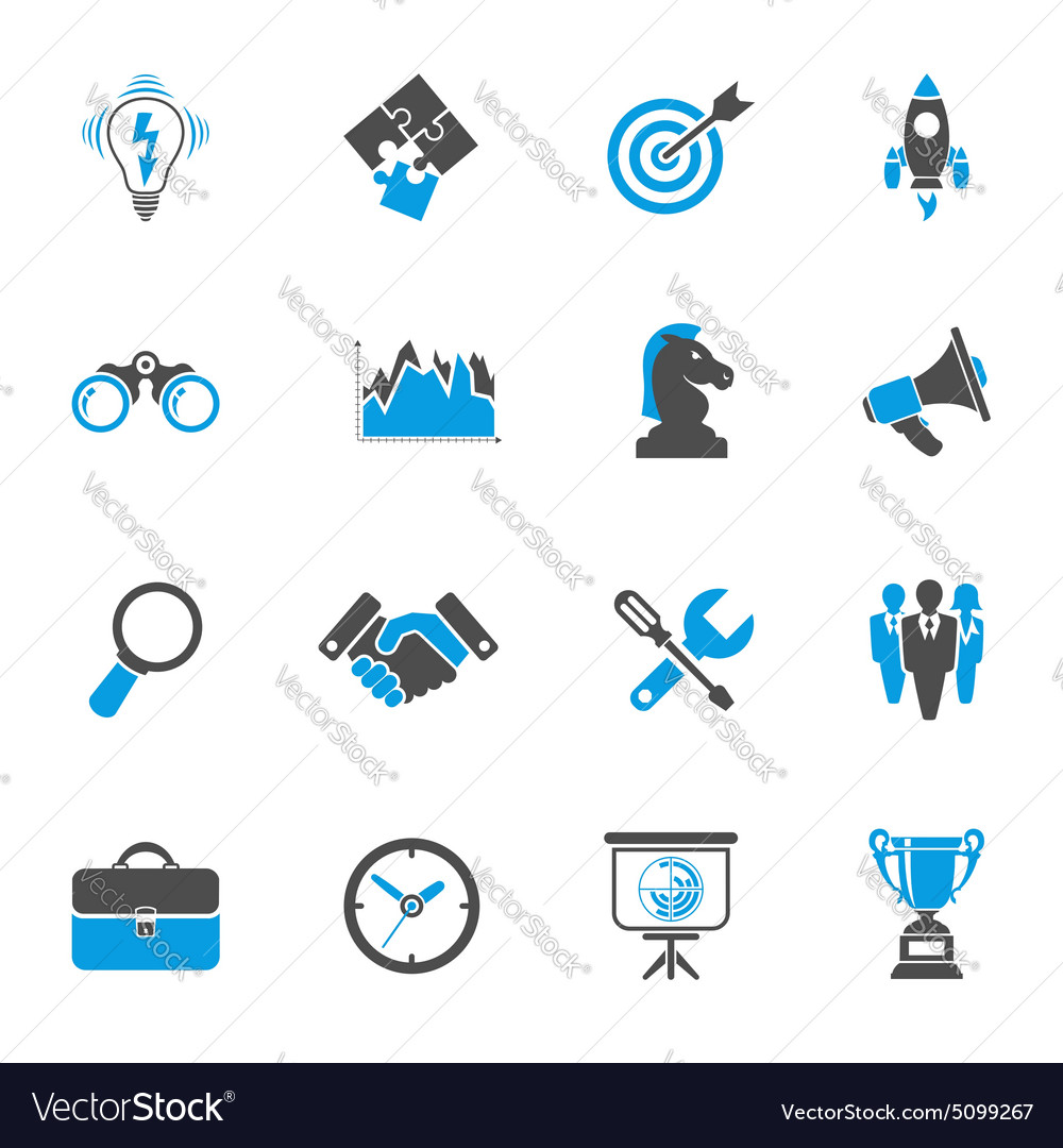 Business strategy icon set vector