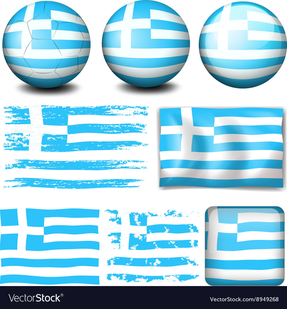 Greece flag in different designs vector