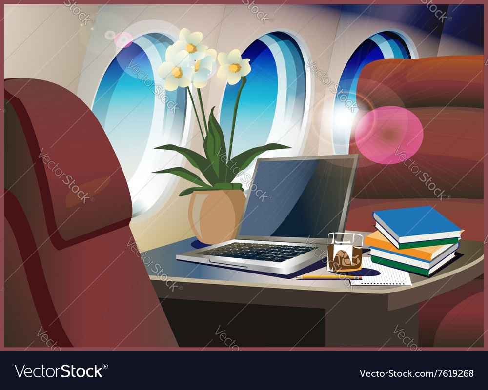 Interior private jet vector